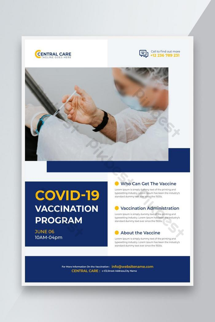 covid 19 program vaksinasi coronavirus flyer template vector premium merah