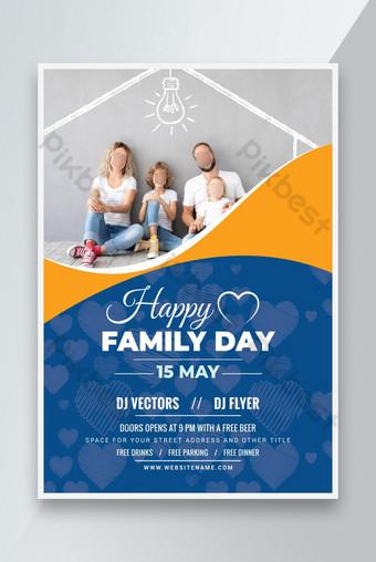Fiesta de fiesta familiar internacional o feliz día de familia folleto diseño de plantilla rojo Modelo AI