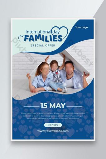 Folleto del Día Familiar Internacional o Feliz Día Familiar Día Venta Folleto Plantilla Diseño Rojo Modelo AI