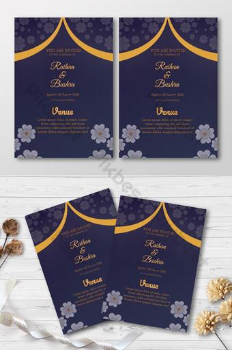 Floral Wedding Invitation Carte Design Fond noir 2021 rouge Modèle PSD