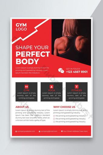 Plantilla de diseño de folleto de gimnasio profesional rojo Modelo EPS