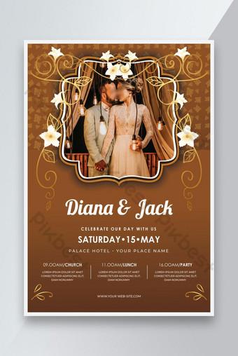 Invitación de boda creativa Flyer o plantilla de boda floral diseño rojo Modelo AI