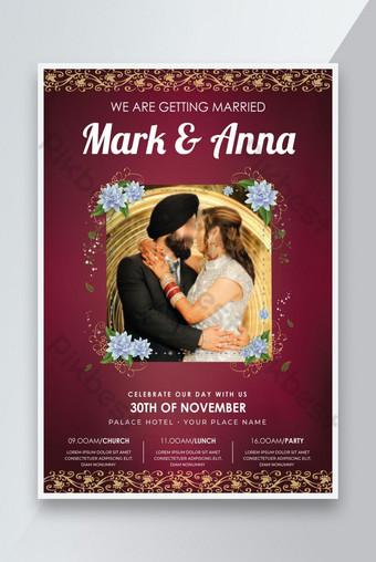 Creative Mariage Invitation Flyer Floral Modèle de mariage Design Rouge Modèle AI