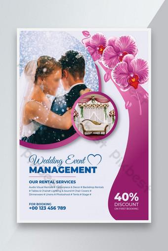 Modèle de dépliant de dépliant d'invitation de mariage de mariage Modèle AI