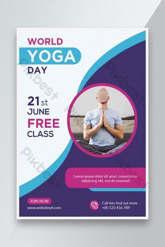 Día de yoga mundial Día de la plantilla de diseño de fitness santo Modelo AI