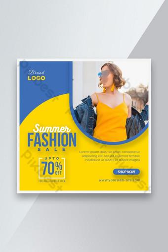 Vente de mode d'été Social Media Post Bannière Annonces de bannière ou modèle de dépliant carré Modèle PSD