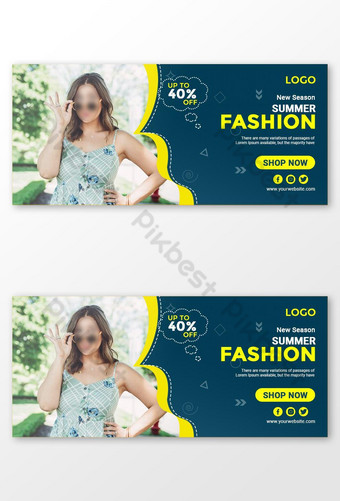 New Season Summer Fashion Facebook Cover Design Template PSD