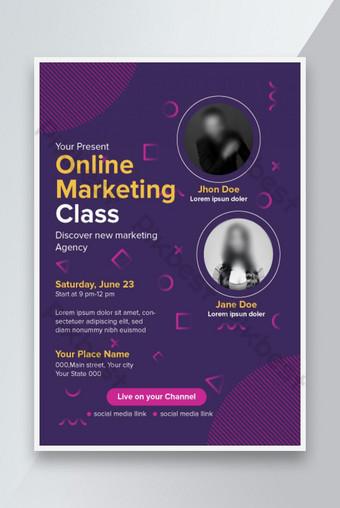 Modèle de dépliant de marketing en ligne élégant et créatif Modèle EPS