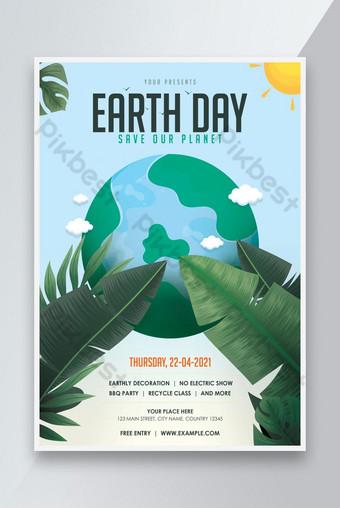 Modèle de dépliant de la journée de la Terre Modèle PSD