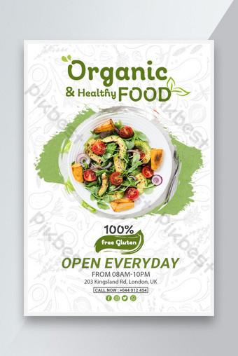 Flyer de nourriture biologique ou design d'affiche Modèle PSD