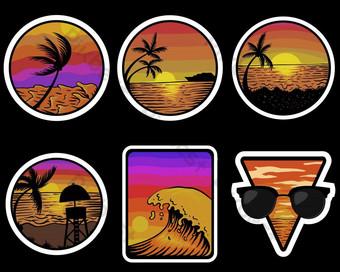 Puesta de sol de playa pegatinas retro ilustración vectorial Elementos graficos Modelo EPS