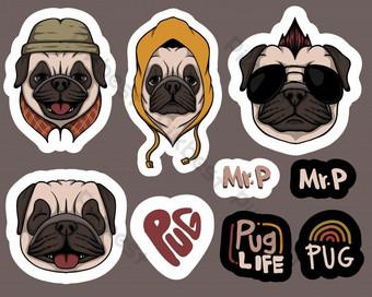 Etiquetas engomadas del perro del pug de la moda ilustración vectorial Elementos graficos Modelo EPS