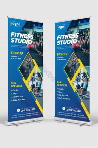 Conception de bannières de rouleaux pour Gym Fitness Club Healthcare Modern Fitness Modèle AI