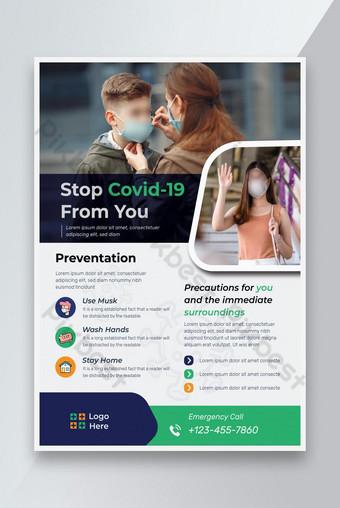 Séjour Safe CORONavirus Prévention Médical Flyer Design Modèle AI