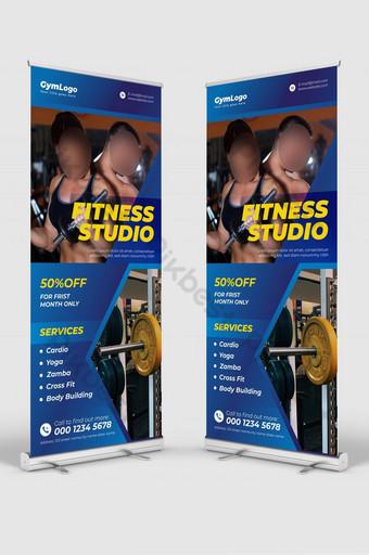 Conception de bannières de rouleau pour Gym Fitness Club Modèle AI