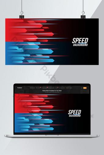Tecnología abstracta de fondo rojo y azul Carreras de alta velocidad para los deportes de larga exposición Fondos Modelo AI