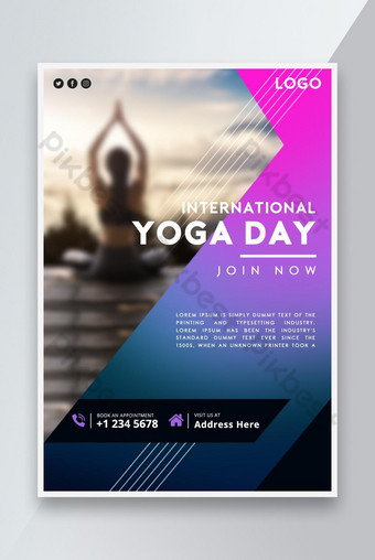 International yoga day event promotion poster design Template PSD