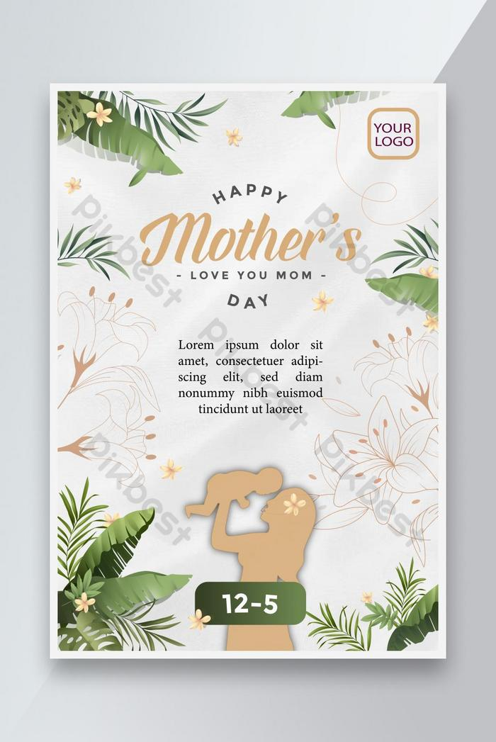 mother's day green leaf poster design