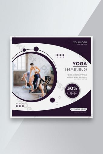 International Yoga Day Training Social media banner or Post Design Template AI