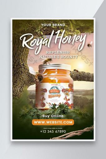 Bouteille de miel placé dans la nature de flyer de promotion de la nature Modèle PSD