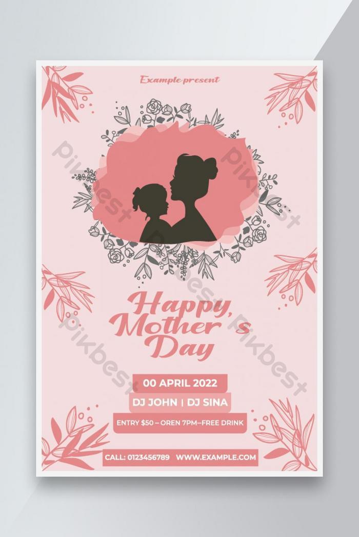 ibu s day ribbon flower flower elegan atau template desain poster