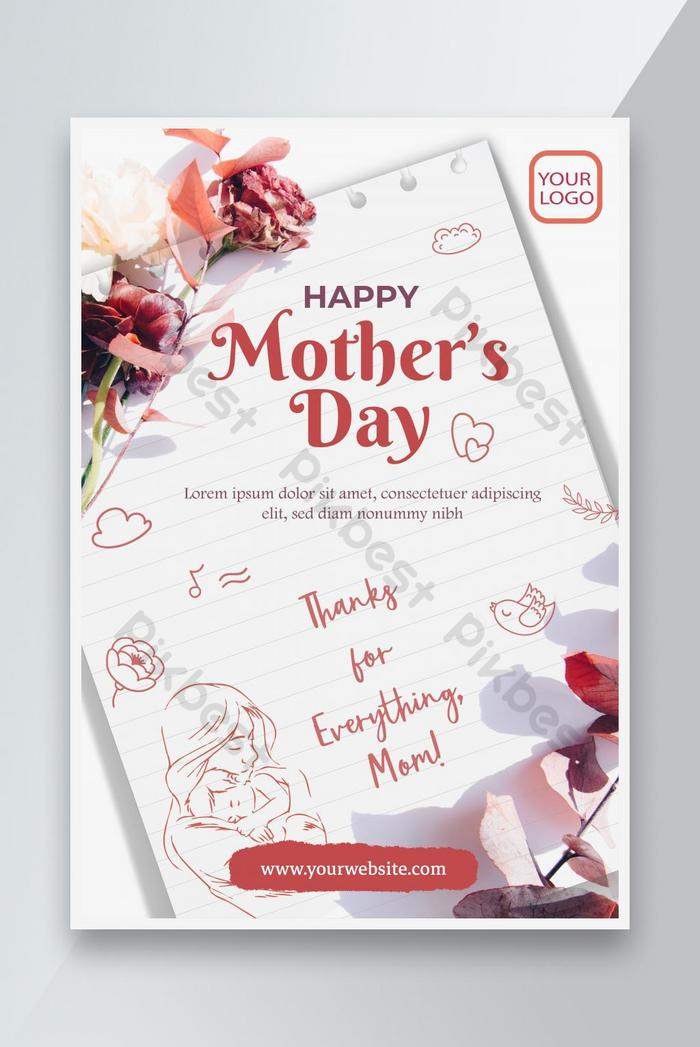 happy mother's day cute note poster design