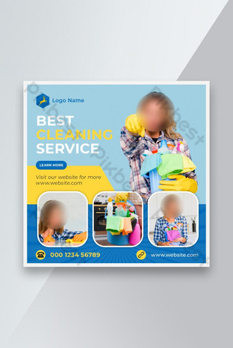 Cleaning service social media instagram post banner template Template PSD