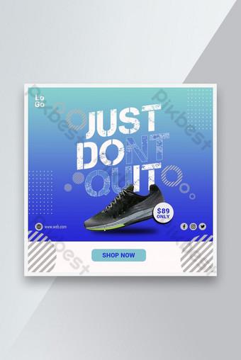 Zapatillas deportivas para correr las redes sociales Post banner de plantilla de diseño Modelo PSD