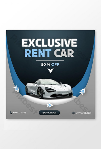 Rent car social media post banner exclusive Template PSD