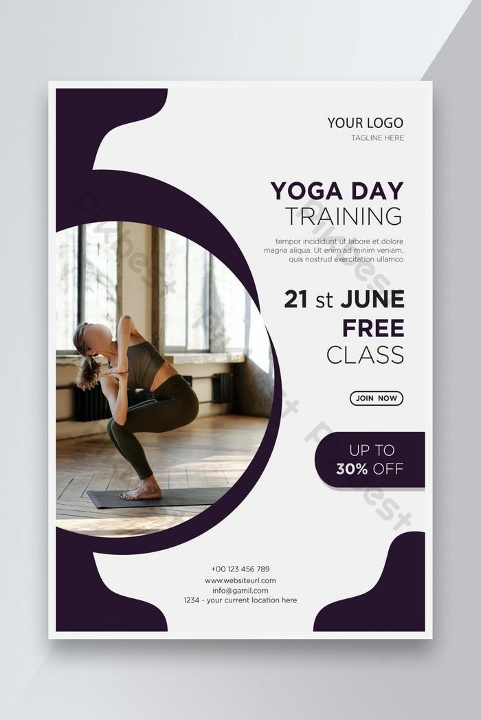 يوم اليوغا يوم التدريب تعزيز نشرة تصميم قالب