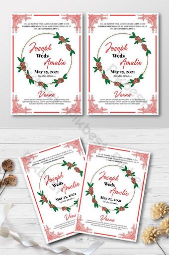 Modèle de dépliant de la carte d'invitation de mariage rose créatif de mariage Modèle PSD