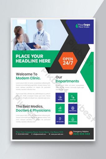 Médical Business Flyer Affiche Pamphlet Brochure Couverture Disposition de la conception Modèle EPS