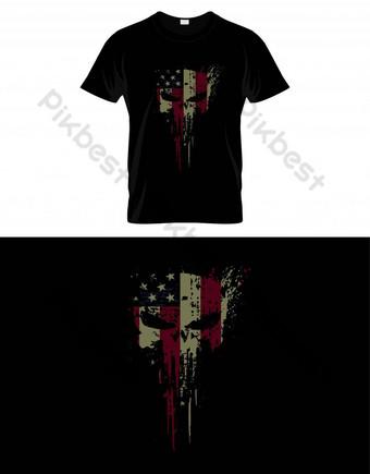 Bandera de Skull Head USA con textura grunge Vector de diseño de camiseta Elementos graficos Modelo EPS