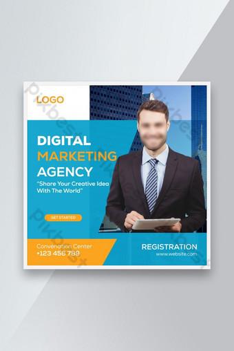 Agence de marketing numérique Social Media Post Amp, Bannière Web AMP ou Modèle de dépliant carré Modèle EPS