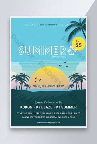 Flyer de fête de plage d'été Modèle PSD