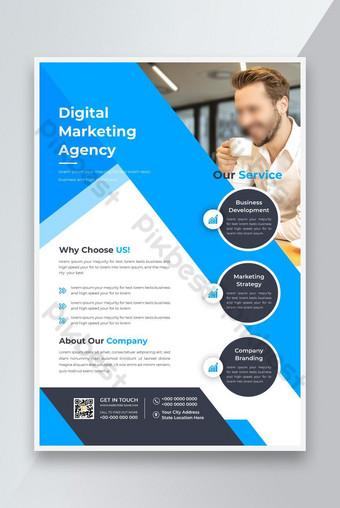 Modèle de conception de flyer d'affaires moderne d'entreprise avec une couleur bleue Nouveau dépliant d'entreprise Modèle AI