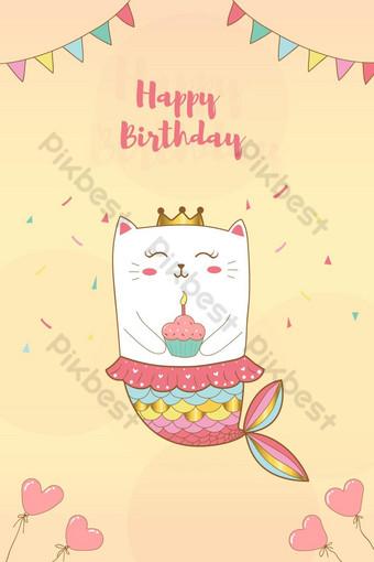 Mignon chat sirène joyeux anniversaire carte avec fond de couleurs pastel Éléments graphiques Modèle AI