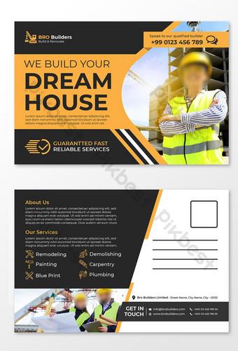 Modèle de carte postale de construction de couleurs jaune ou modèle de carte postale de la société de construction Modèle EPS