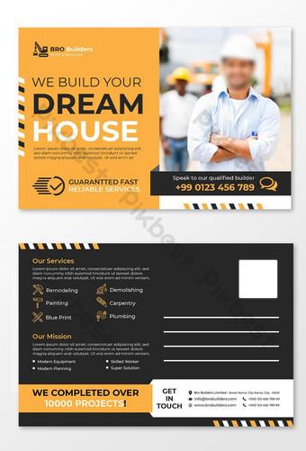 Modèle de conception de la carte postale de la carte postale ou de construction de couleurs jaune Modèle EPS