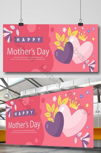 Ilustración plana Hermoso amor y flor Feliz día de madres saludando banner Modelo AI