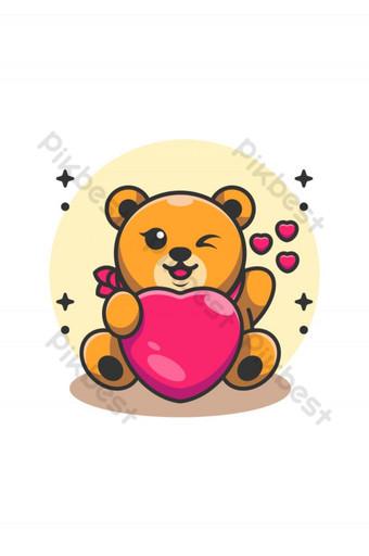 Lindo bebé oso sosteniendo caricatura del corazón Elementos graficos Modelo AI