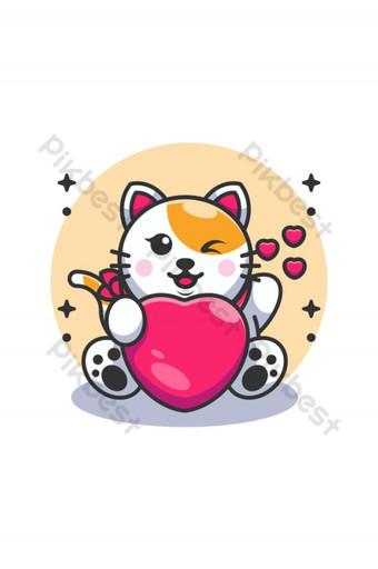 lindo bebé gato sosteniendo caricatura del corazón Elementos graficos Modelo AI
