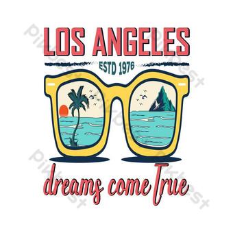 Los Angeles Estd 1976 Mimpi Datang Kesejah T Shirt Desain Elemen Grafis Templat EPS