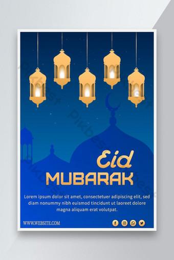 Eid Mubarak Poster Desain Eid Al Fitr Poster Desain Vektor Hari Islam Templat AI