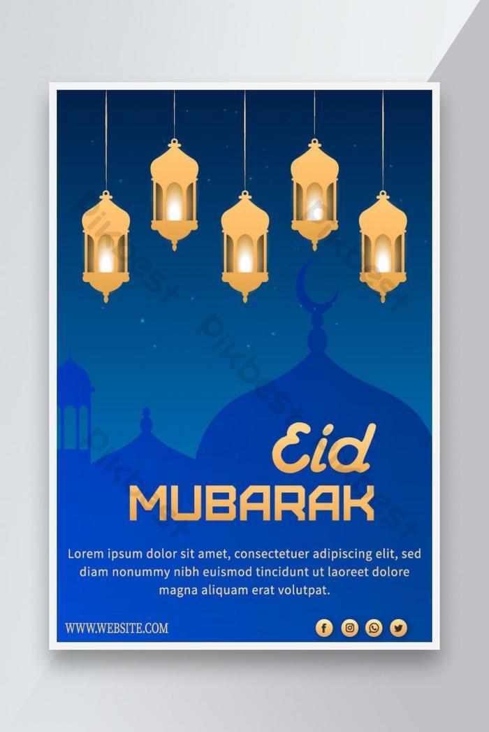 eid mubarak poster desain eid al fitr poster desain vektor hari islam