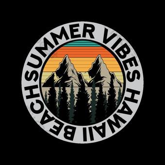 Desain Summer Vibes Hawaii Beach T Shirt Elemen Grafis Templat EPS