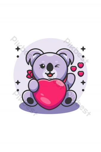 Lindo bebé koala sosteniendo caricatura del corazón Elementos graficos Modelo AI