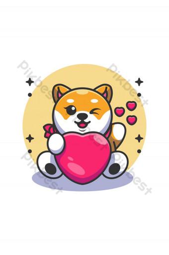 Lindo bebé shiba inu perro sosteniendo caricatura del corazón Elementos graficos Modelo AI