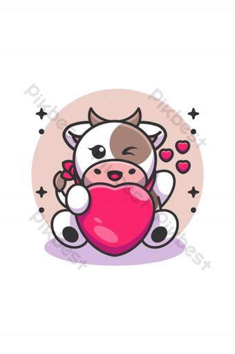 Linda vaca bebé sosteniendo caricatura del corazón Elementos graficos Modelo AI