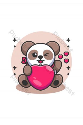 Lindo bebé panda sosteniendo caricatura del corazón Elementos graficos Modelo AI